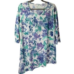 Jessica London Floral Pullover 3/4 Sleeve Top NWOT